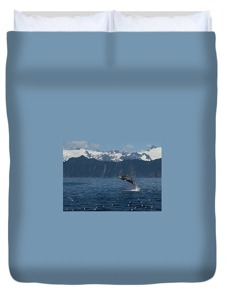 Humback Whale Arching Breach Duvet Cover