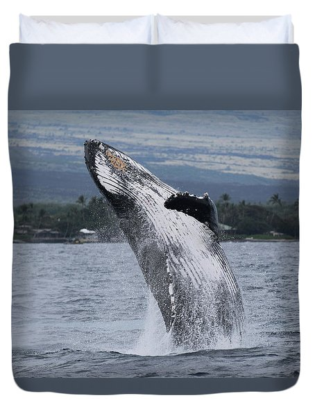 Duvet Cover featuring the photograph Humback Whale Breaching by Pamela Walton
