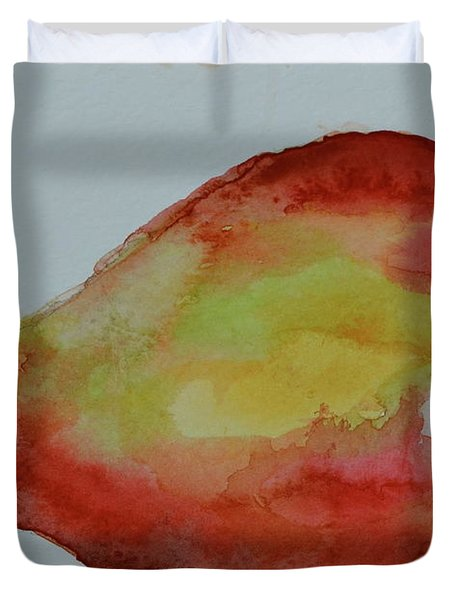 Duvet Cover featuring the painting Humble Pear by Beverley Harper Tinsley
