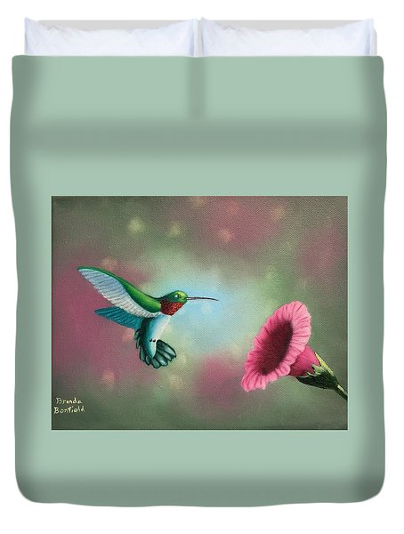 Humming Bird Feeding Duvet Cover