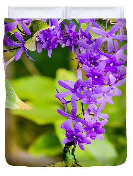 Humming Bird Flowers Duvet Cover