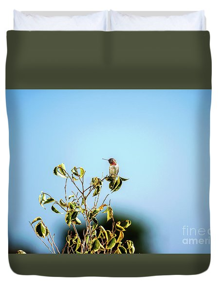 Duvet Cover featuring the photograph Humming Bird On A Branch by Micah May