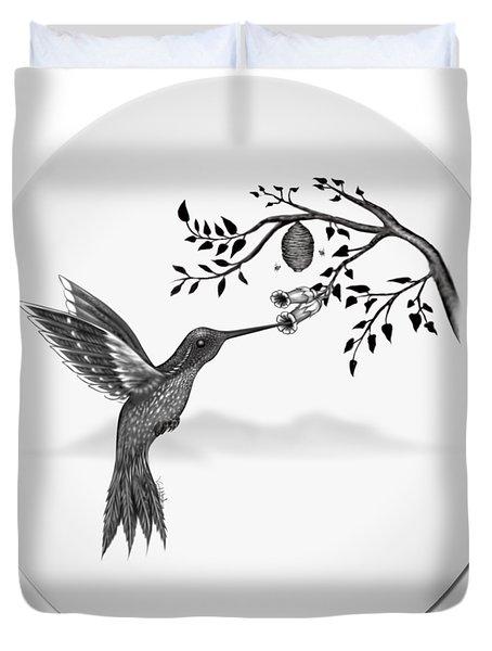 Humming Bird On Oval Duvet Cover