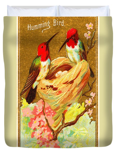 Humming Bird Victorian Tobacco Card By Allen And Ginter Duvet Cover