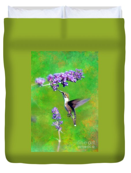 Humming Bird Visit Duvet Cover