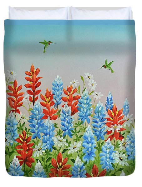 Humming Birds Feeding On Wildflowers Duvet Cover by Jimmie Bartlett