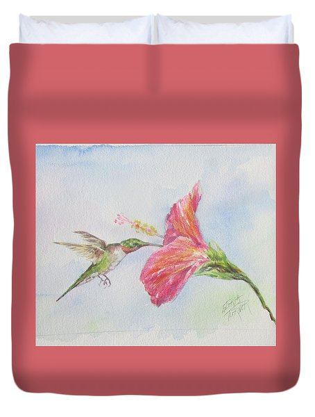 Duvet Cover featuring the painting Hummingbird 1 by Gloria Turner