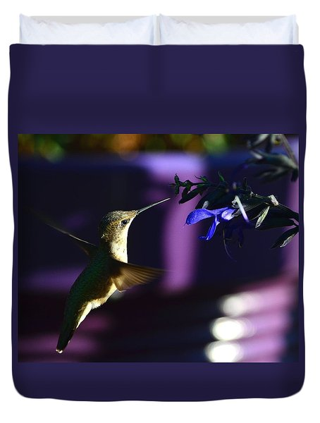 Hummingbird And Blue Flower Duvet Cover