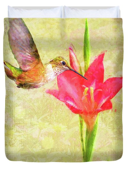 Duvet Cover featuring the digital art Hummingbird And Flower by Christina Lihani