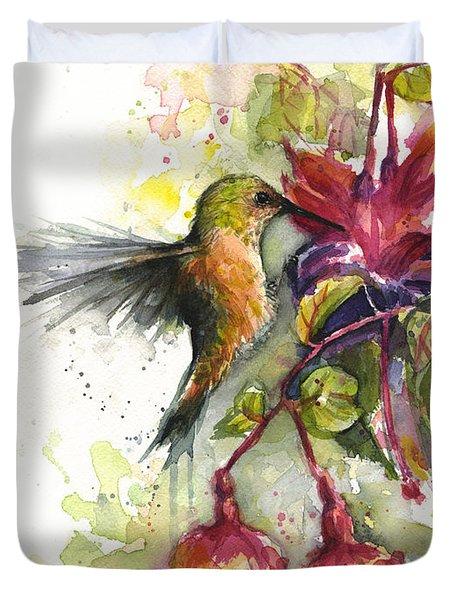 Hummingbird And Fuchsia Duvet Cover by Olga Shvartsur