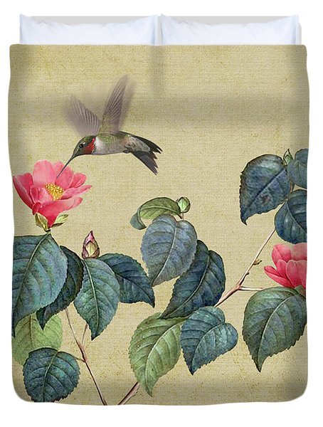 Hummingbird And Japanese Camillea Duvet Cover