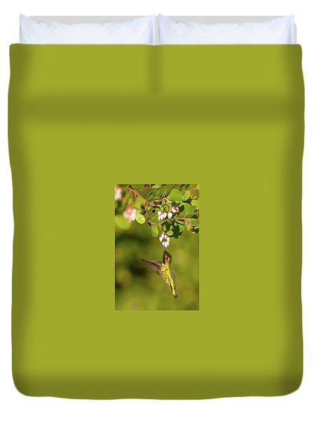 Hummingbird And Manzanita Blossom Duvet Cover