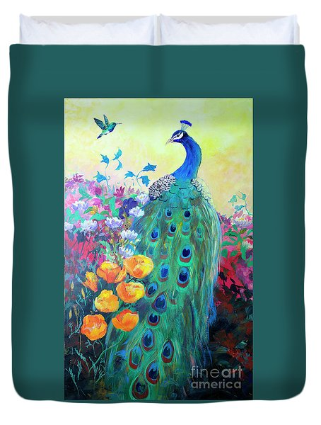 Duvet Cover featuring the painting Hummingbird And Peacock by Robin Maria Pedrero