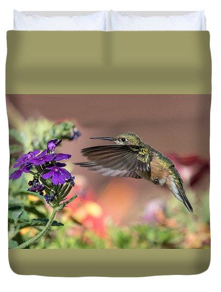 Hummingbird And Purple Flower Duvet Cover
