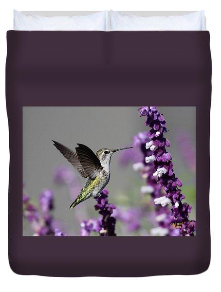 Hummingbird And Purple Flowers Duvet Cover