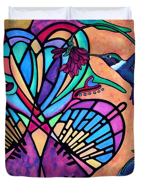 Hummingbird And Stained Glass Hearts Duvet Cover