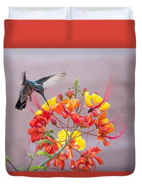 Hummingbird At Work Duvet Cover