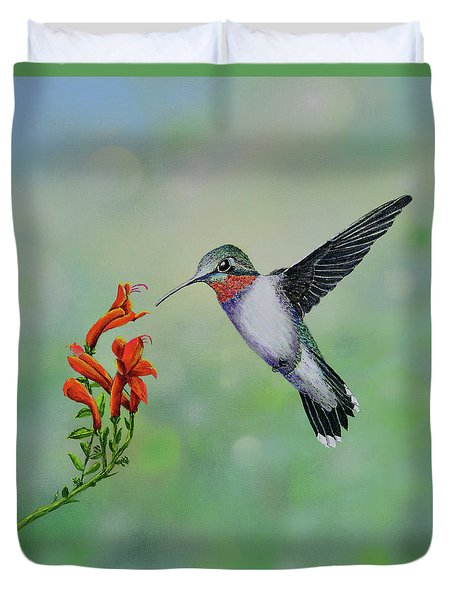 Duvet Cover featuring the painting Hummingbird Beauty by Mary Scott