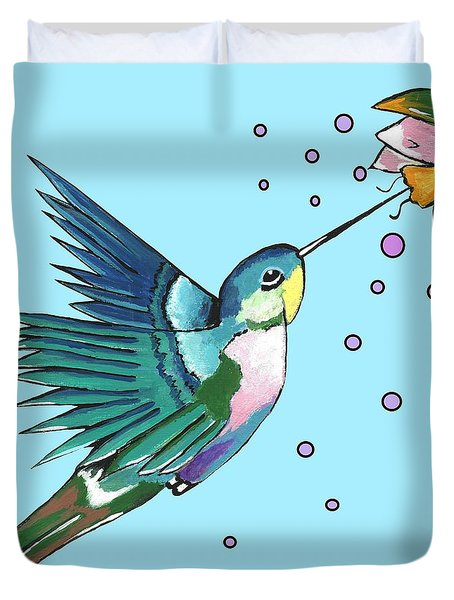 Hummingbird Blue Duvet Cover