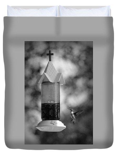 Hummingbird - Bw Duvet Cover