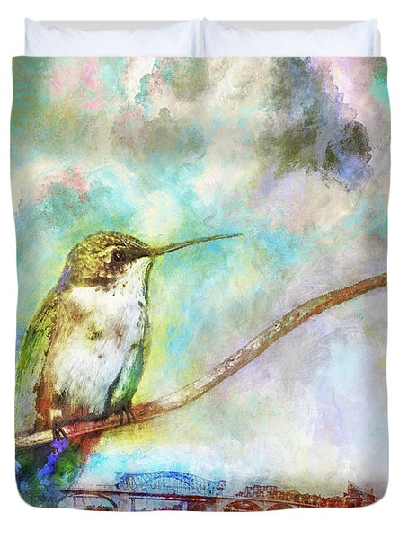 Hummingbird By The Chattanooga Riverfront Duvet Cover