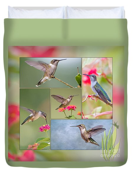 Hummingbird Collage Duvet Cover by Bonnie Barry