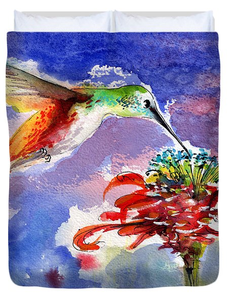 Hummingbird Drinking From Red Flower Duvet Cover