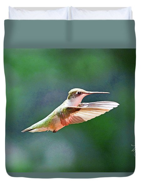 Hummingbird Flying Duvet Cover
