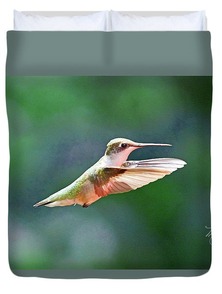 Duvet Cover featuring the photograph Hummingbird Flying by Meta Gatschenberger