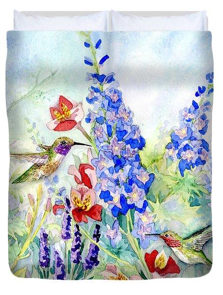 Hummingbird Garden In Spring Duvet Cover