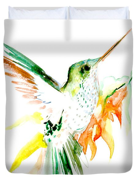 Hummingbird Green Orange Red Duvet Cover