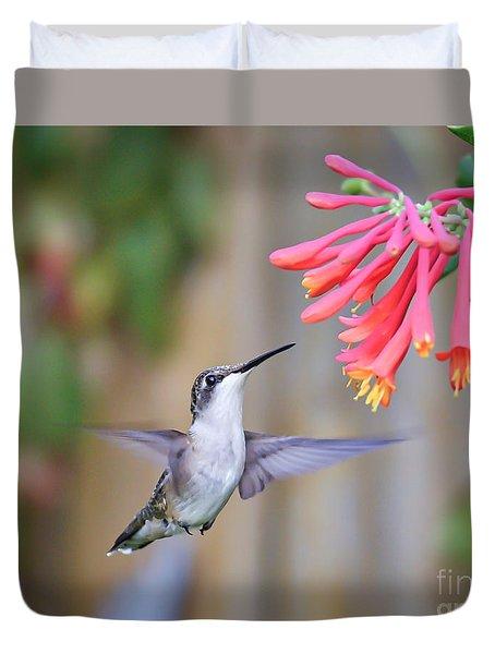 Hummingbird Happiness 2 Duvet Cover by Kerri Farley