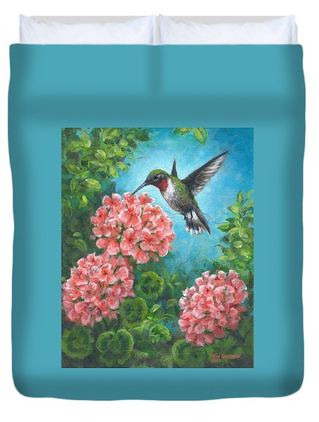 Duvet Cover featuring the painting Hummingbird Heaven by Kim Lockman