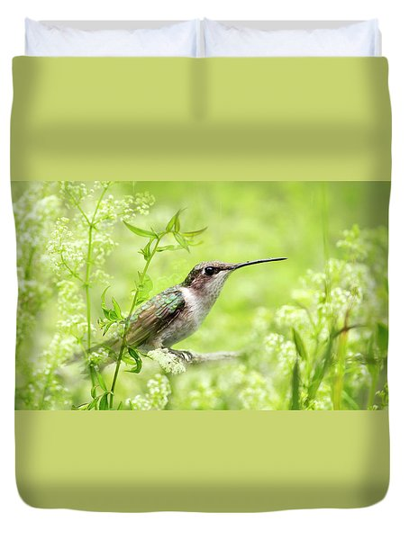 Hummingbird Hiding In Flowers Duvet Cover by Christina Rollo