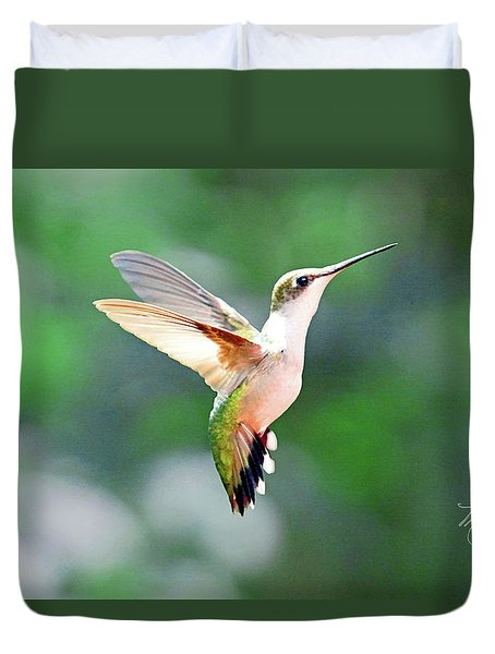 Hummingbird Hovering Duvet Cover