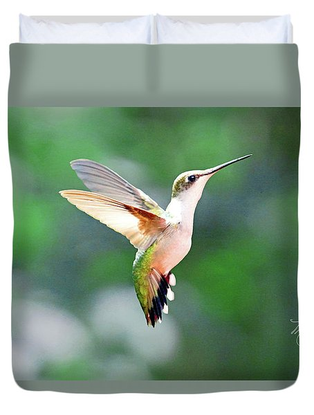 Duvet Cover featuring the photograph Hummingbird Hovering by Meta Gatschenberger
