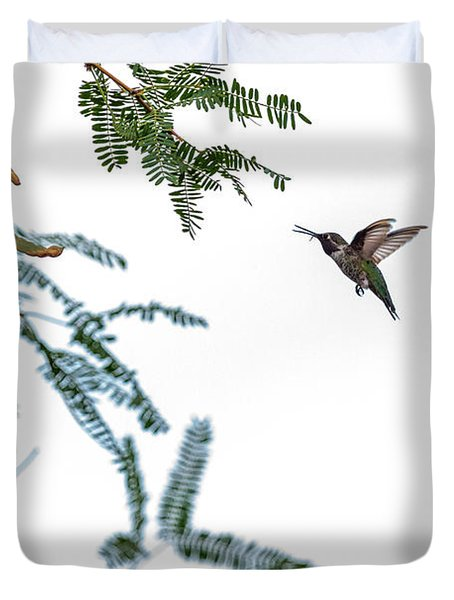 Hummingbird In Flight Isolated On White Sky Duvet Cover