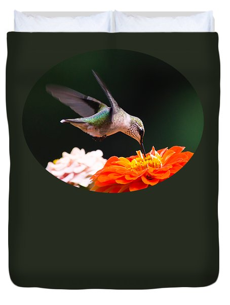 Duvet Cover featuring the photograph Hummingbird In Flight With Orange Zinnia Flower by Christina Rollo