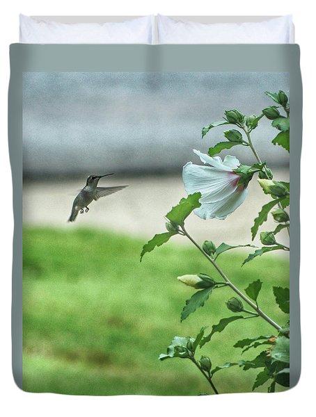 Hummingbird In Flight Duvet Cover by Yvonne Emerson AKA RavenSoul