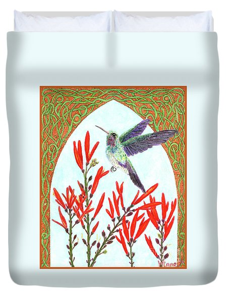 Hummingbird In Opening Duvet Cover