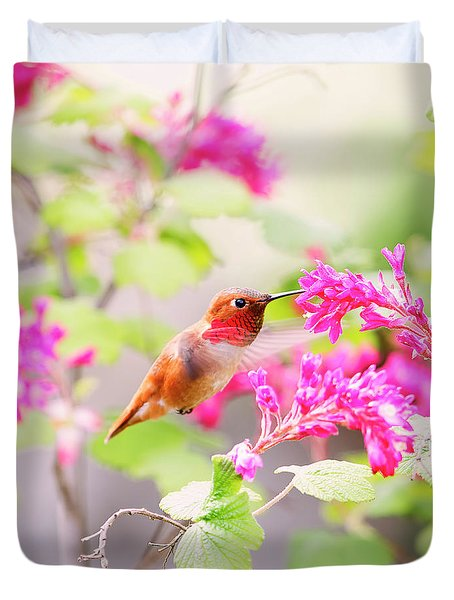 Hummingbird In Spring Duvet Cover by Peggy Collins