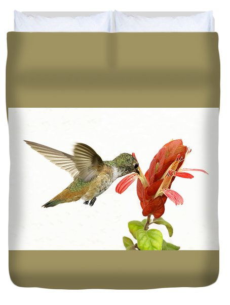 Hummingbird In The Flower Duvet Cover
