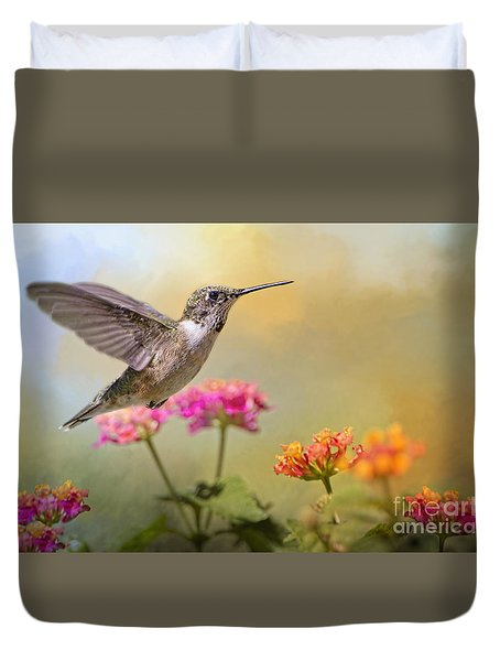 Hummingbird In The Garden Duvet Cover by Bonnie Barry