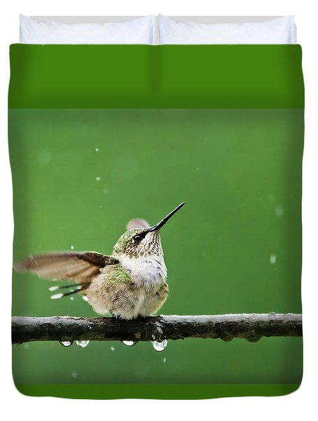 Hummingbird In The Rain Duvet Cover by Christina Rollo