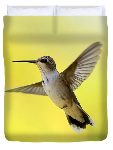 Hummingbird In Yellow Duvet Cover