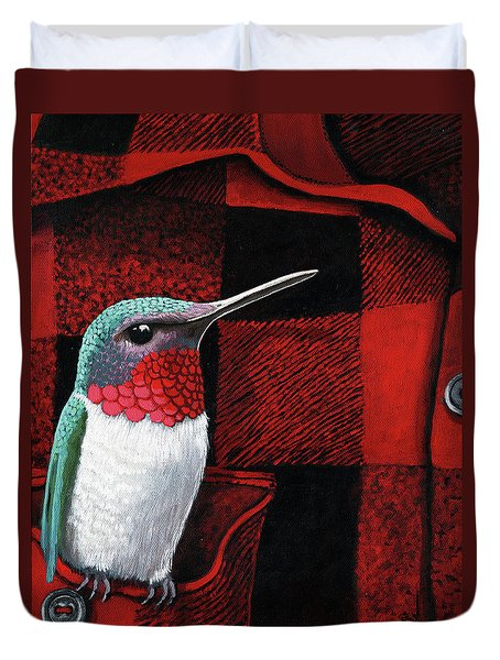 Duvet Cover featuring the painting Hummingbird Memories by Linda Apple