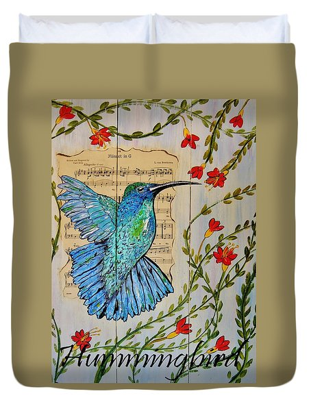 Hummingbird Minuet In G Duvet Cover by Cindy Micklos