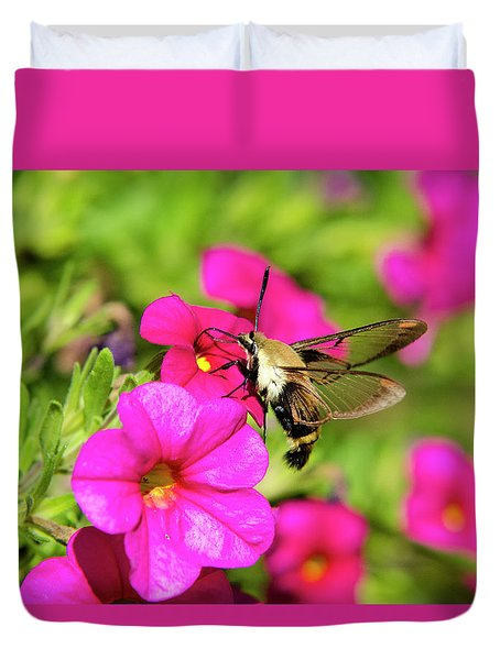 Duvet Cover featuring the photograph Hummingbird Moth by Christina Rollo