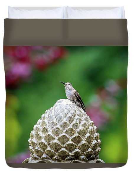 Hummingbird On Garden Water Fountain Duvet Cover by David Gn