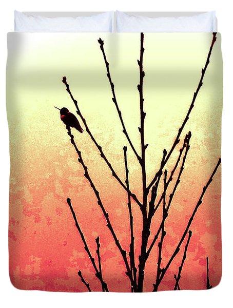 Hummingbird Peach Tree Duvet Cover